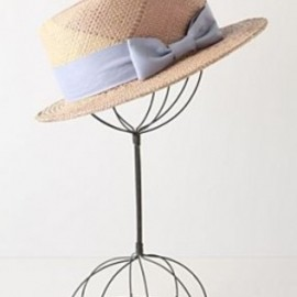 Yestadt Millinery - Periwinkle Plaid Boater