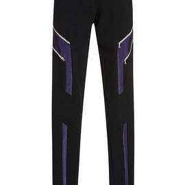 PRABAL GURUNG - SS2015 Straight Leg Trouser With Asymmetric Detail In Black And Navy