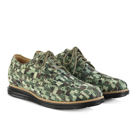 Cole Haan - lunargrand long wingtip green multi mosaic camo