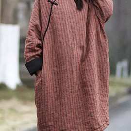 Long Winter robe - Women oversized Long Winter robe, Linen Long sleeve dress, padded dress