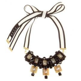 MARNI - CRYSTAL-EMBELLISHED RIBBON NECKLACE