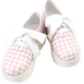 Candy Stripper - GINGHAM CHECK LACE UP RIBBON HIGH SOLE SHOES