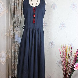 Summer full length dress, maxi dress with pockets, long Dark blue dress, bridal dress