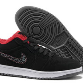 Nike Low Shoes Jordan Retro 1 Suede with Fur Lining Red Grey and Black