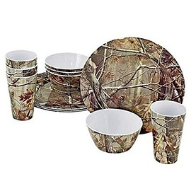 Realtree - Realtree 12 Piece Brown Camo Melamine Dinnerware