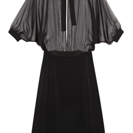 VALENTINO - Light Chiffon Dolman Sleeve Boat Neck Dress