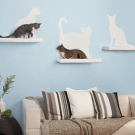 The Refined Feline - cat silhouette cat shelves
