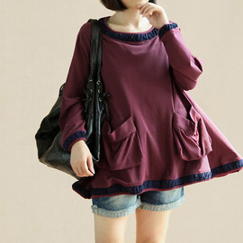 shirt - Lovely big swing Cotton shirt Cotton cape T-shirt