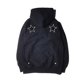 "UNRIVALED - UNRIVALED×M&M ""Basic Star Zip Parka"" BLACK/W"