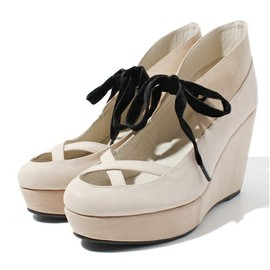 CROSS STRAP WEDGE SOLE PUMPS