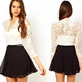 white lace long sleeve dress Joining together black chiffon