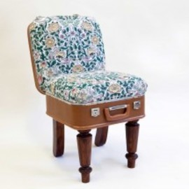 Suitcase Chair ? Tan Linen Birds - Recreate