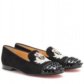 Christian Louboutin - SUEDE INTERN SLIPPER-STYLE LOAFERS WITH STUDS