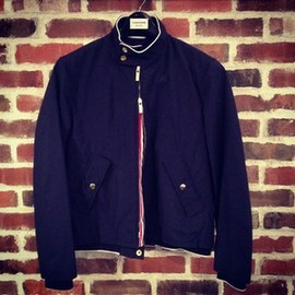 THOM BROWNE - THOM BROWNE Baracuta  SHORT JACKET IN NAVY NYLON TAFFETA