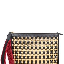 MARNI - WOVEN FAUX LEATHER & LEATHER CLUTCH