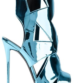 GIUSEPPE ZANOTTI - Blue leather metallic sandals