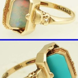 Art Deco Opal & Persian Turquoise Reversible Flip Cocktail Ring