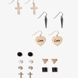 FOREVER 21 - Pyramid Heart Earring Set