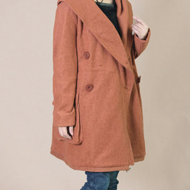 wool coat - winter wool overcoat hoodie waist drawstring Large pocket wool coat/ Orange