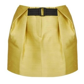 BALENCIAGA - Pleat Tucked Silk Shantung Skirt