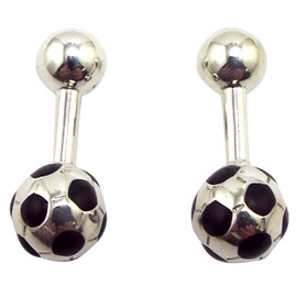 Tiffany & Co. - Silver & Enamel Soccer Ball Cufflinks