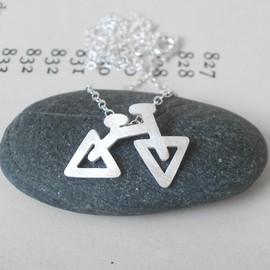 Luulla - sterling silver holiday bicycle necklace, the triangular version