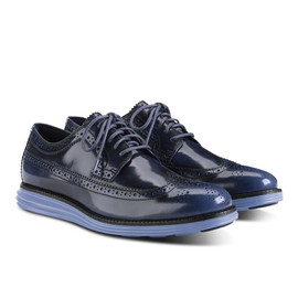 Cole Haan - LunarGrand Long Wingtip Black Iris/Chambray