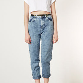 TOPSHOP - MOTO Acid Wash Mom Jeans