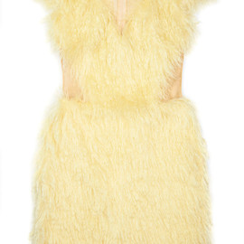 SIMONE ROCHA - Nylon Tulle Dress With Full Mohair Fur Overlay
