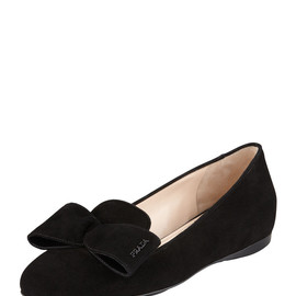 PRADA - Suede Hidden Wedge Bow Smoking Slipper, Black