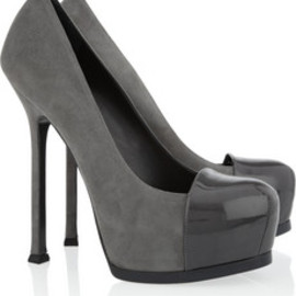 Yves Saint Laurent - Tribtoo suede and patent-leather pumps