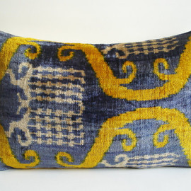 Sukan - Soft Hand Woven - Silk Velvet Ikat Pillow Cover - 15x22 inch - Green Yellow Blue Beige