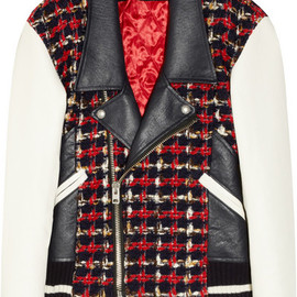 JUNYA WATANABE COMME des GARÇONS - Wool-blend tweed and faux leather biker jacket