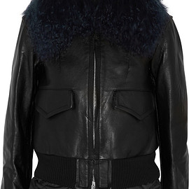 sacai - FW2015 Luck shearling-trimmed leather biker jacket
