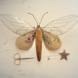 Mister Finch - Clear winged moth soft sculpture with vintage textiles.