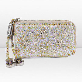 JIMMY CHOO - Chanpagne Glitter Leather with Stars Coin Purse