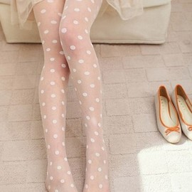 ToFebruary - Dotty Sheer Tights in White