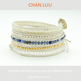 chan luu - sodalite mix bracelet on.white leather