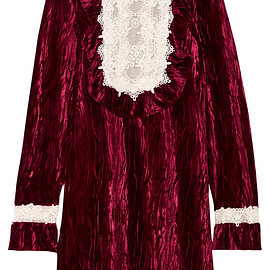 ANNA SUI - FW2017 To the One I Love lace-trimmed crushed-velvet mini dress