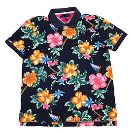 TOMMY HILFIGER - Tommy Hilfiger Floral Print Hawaiian Polo Shirt Mens Size Large (Slim Fit)