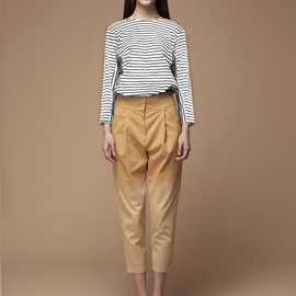 LOW CLASSIC - cross stripe top-ivory