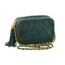 CHANEL - CHANEL VINTAGE GREEN SUEDE TASSEL SHOULDER