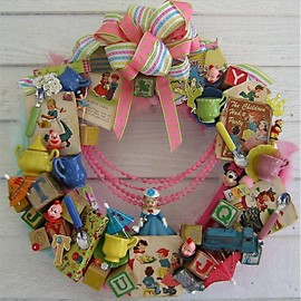 Vintage Wreath of Toys and Ribbon