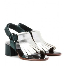 MARNI EDITION - METALLIC-LEATHER AND SATIN SANDALS
