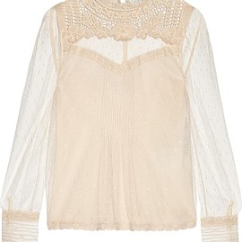 REDValentino - Embroidered lace-trimmed point d'esprit tulle top