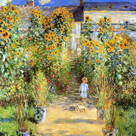 Claude Monet - Monet's Garden at Vetheuil.