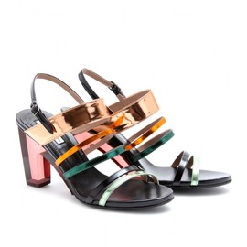 DRIES VAN NOTEN - MIRRORED METALLIC SANDALS WITH PLEXIGLAS HEEL
