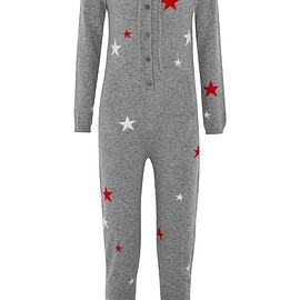 Chinti and Parker - Hooded star-intarsia cashmere jumpsuit