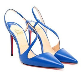 Christian Louboutin - June Kid Leather Dorsay Leather Pumps in Blue
