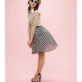 Honey mi Honey - Gingham check midi skirt
